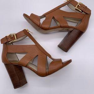 Michael Kors zip up chunky heel sandals camel/gold